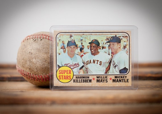 RESERVED Vintage 1968 Topps Mickey Mantle, Willie Mays, Harmon Killebrew Baseball Card, BV 150.00