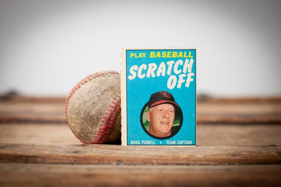 Vintage 1970 Topps Boog Powell Scratch Off Baseball Game Trading Card, Unused