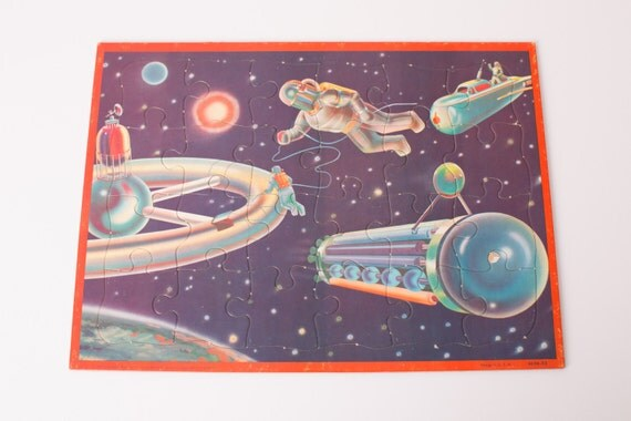 Vintage 1960 Astronauts & Rockets in Outer Space Tray Puzzle, 4694-X3