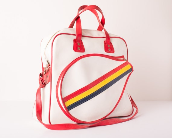 Vintage Large Rainbow Stripe Tennis Sports Bag w/Red Accents