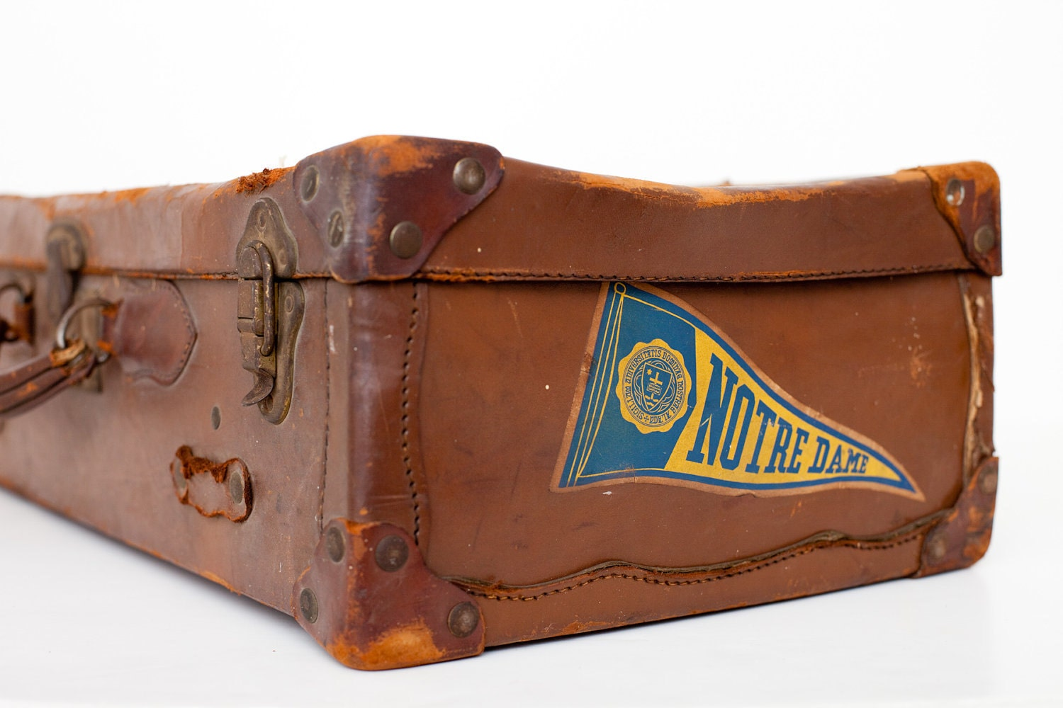 Vintage suitcase notre dame student dark brown leather - Vintage suitcase ...
