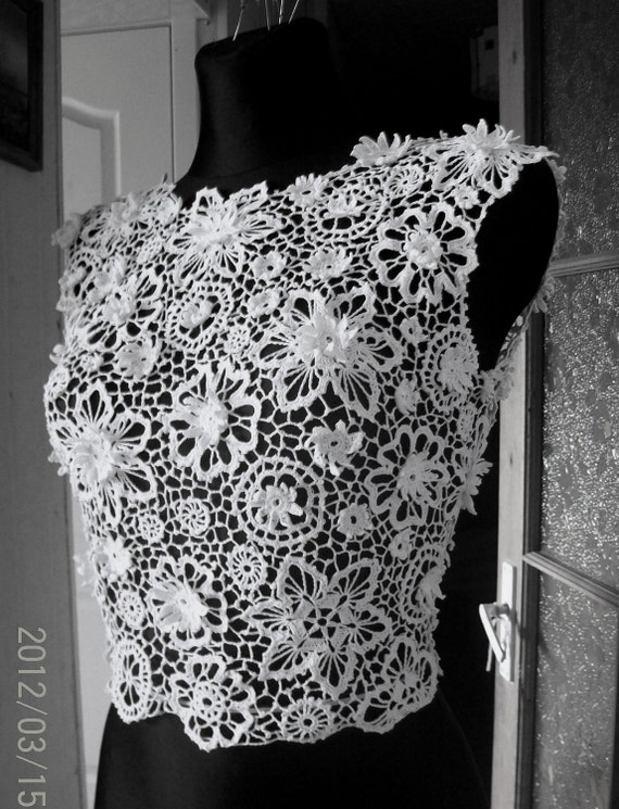 Irish crochet lace blouse dress top by laiminga on etsy for Crochet lace wedding dress pattern