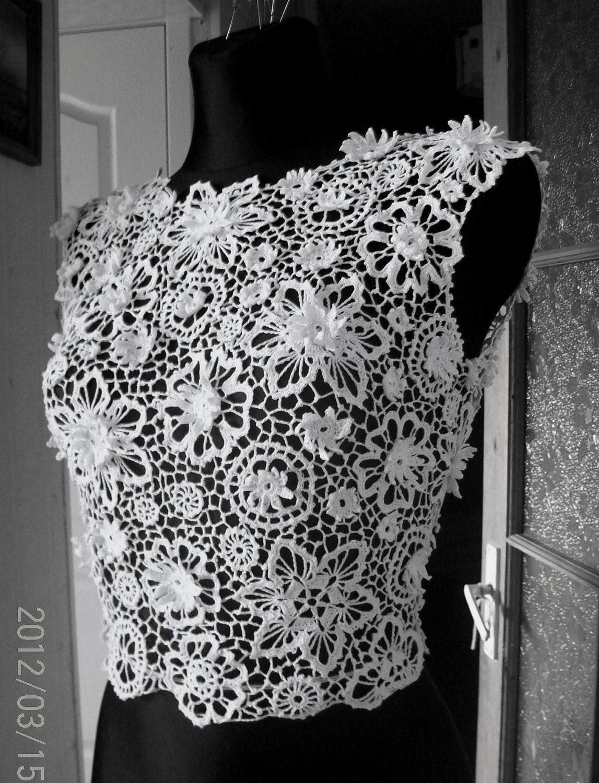 Irish Crochet Dress Free Patterns : Irish crochet lace blouse dress top by LaimInga on Etsy