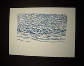Wave Block Print in Blue