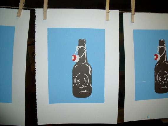 3 color Grolsch Bottle Beer Print