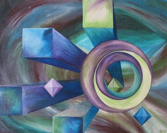 Geometrically Painted Designs Original Acrylic Painting