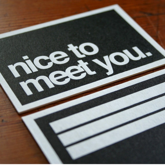 Items similar to nice to meet you HOWDOO business cards on