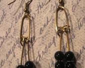 Handmade Brass and Black Onyx Earrings - Black Legwarmers