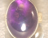 Handmade Amethyst Ring with Sterling Silver Patterned Band