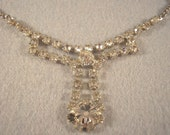 Vintage Rhinestone T Necklace