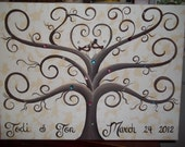 Wedding guest book tree canvas....80 - 120 guests...16 x 20..With some Bling Bling and His & Her Lovebirds