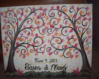 Wedding Guestbook Thumbprint Canvas....Great Wedding guest book Alternative...16 x 20....75-100 Guests