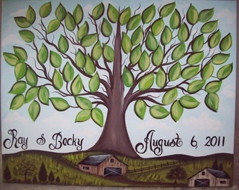 Wedding thumbprint guest canvas.....18 x 24....150-170 Guests.....Country Scene....