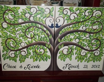 Wedding guest book signature tree....Extra Large  325 Guests.....Hand painted Canvas
