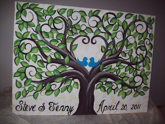 Wedding Signature Leaf Guest Canvas....Great Guest Book Alternative...18 x 24 Canvas.....155 painted leaves