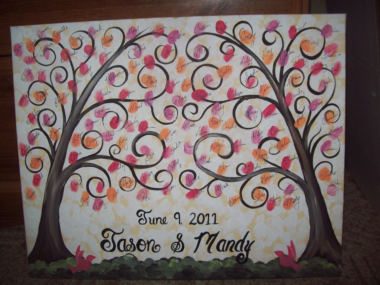 wedding guestbook thumbprint canvas great wedding guest
