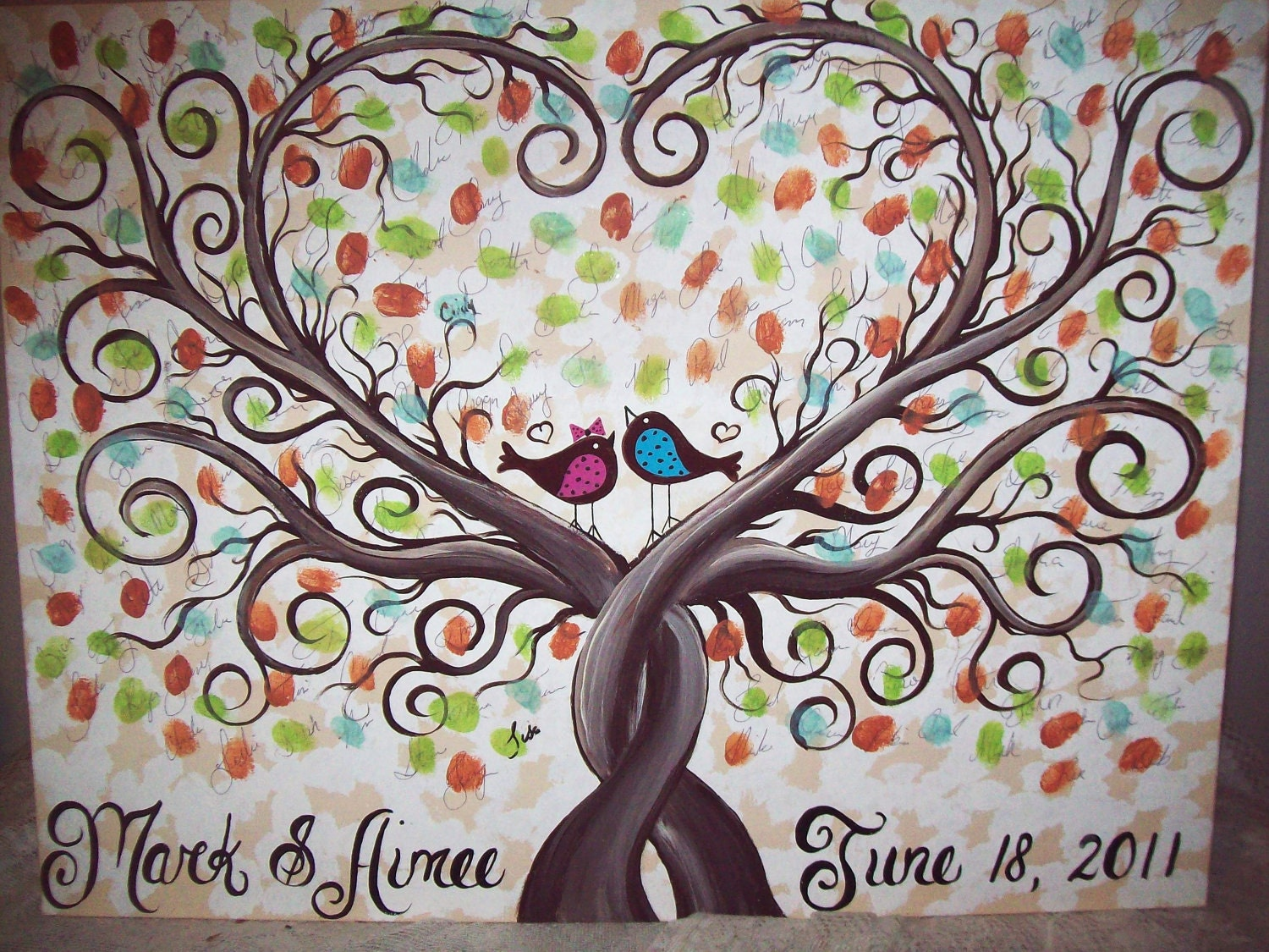 Wedding Guest Book Thumbprint Tree....185-250 Guests......22 X