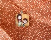 Sisters jewelry glass pendant