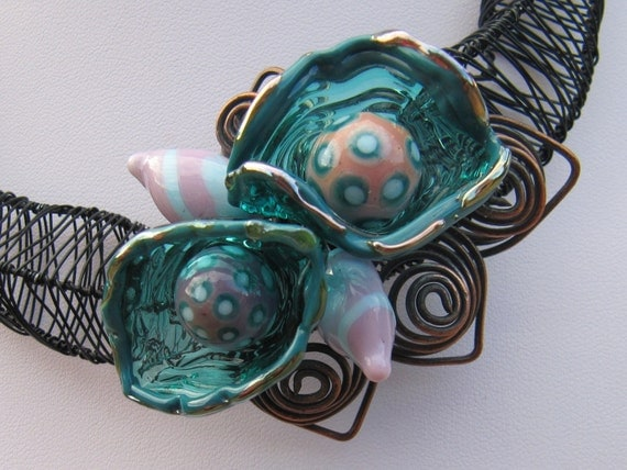 Handmade Lampwork Glass Necklace - Teal Pods and Copper Swirls