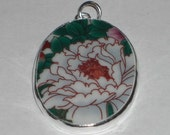 Bold White Flower in Full Bloom - Chinese Pottery Shard Pendant Oval Shape