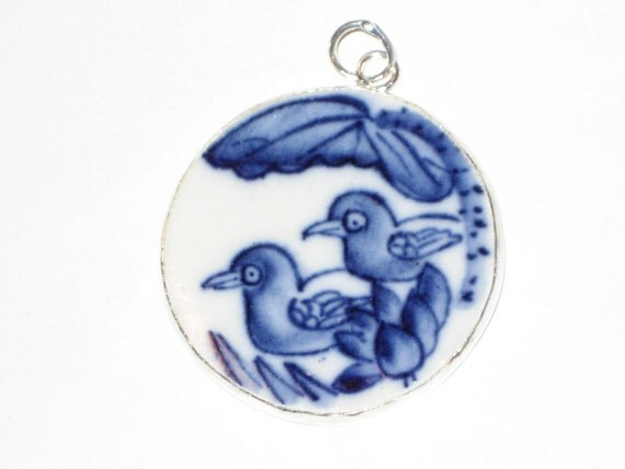 Birds  Blue and White Pottery Shard Pendant Ming Dynasty Blue