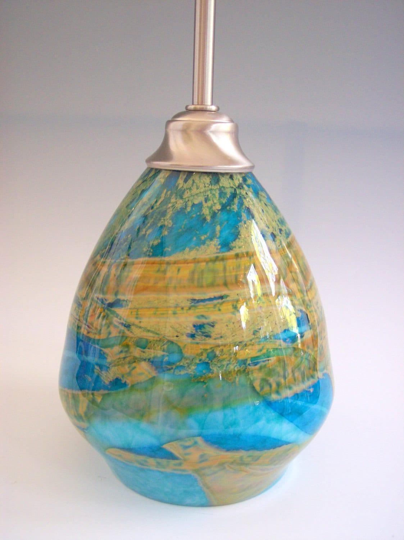 Ooak Hanging Hand Blown Glass Pendant Lamp By Rebecca Zhukov