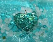 ON SALE- Sea Glass Heart Necklace w/ Turquoise & Aqua Tinies. Free Ship!