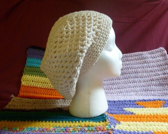 Custom Slouchy Light and Airy Summery Hippie Hat 100% Cotton