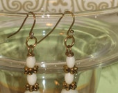 Recycled Milk Glass Dangle Earrings, Milk Glass and Gold Accent Earrings, Victorian Earrings, Etsy Vintage Jewelry Team,