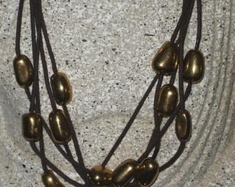 Avon, Multi Strand Gold Beaded Necklace, Vintage Avon Vintage Brown Cord/Gold Bead Necklace, Avon Collectible, Etsy Vintage Jewelry Team