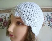 Crocheted Ladies White Cotton Flapper Hat----------SALE