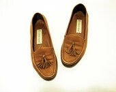 Size 5 5.5 Light Brown Tassel Loafer Shoes