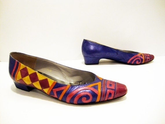 Size 7.5 Colorful Ethnic Print Leather Low-heel Pumps shoes