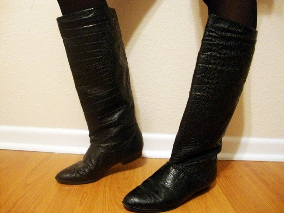 Size 7 Black Tall Reptile Print Boots Shoes