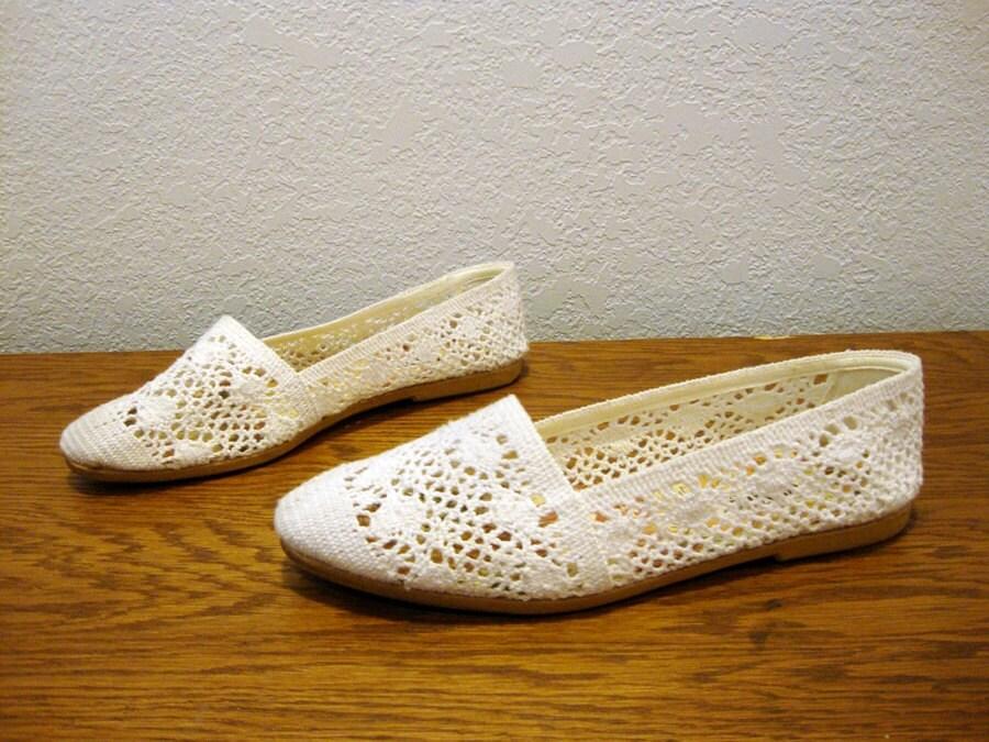 size 9 5 white lace canvas flats shoes