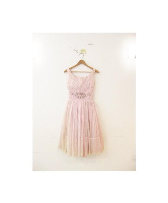 1940s-1950s GORGEOUS floral tulle lace party dress