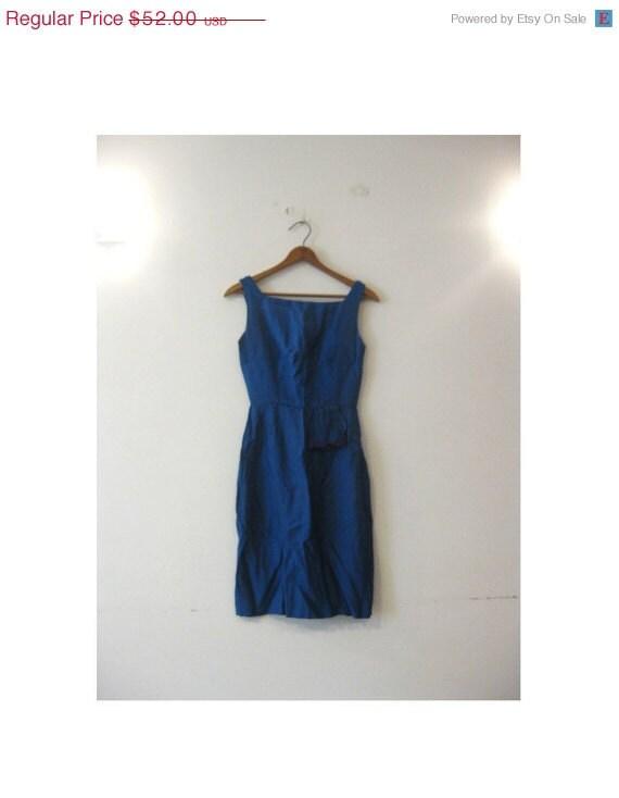 New Year SALE. . . 1940s-1950s BEAUTIFUL royal blue tassel wiggle dress
