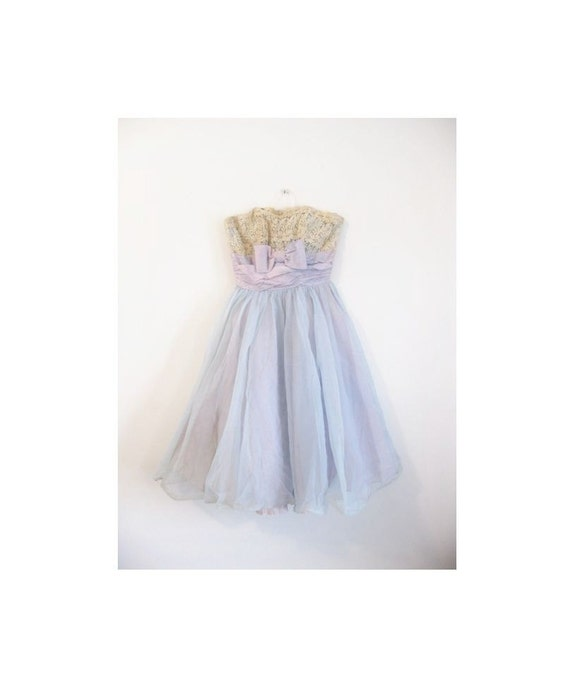 hold hold hold 1940s-1950s PARTY floral mini tulle gorgeous dress