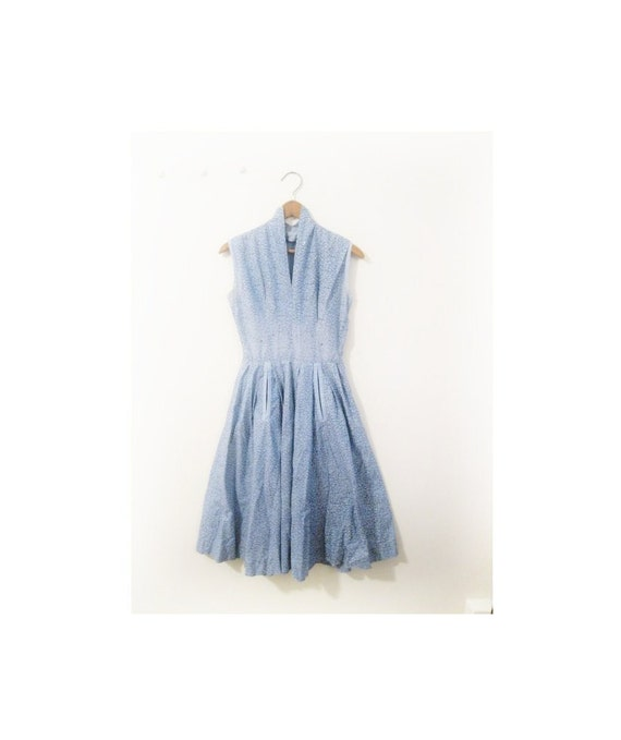 1940s-1950s FLORAL blues spring dress