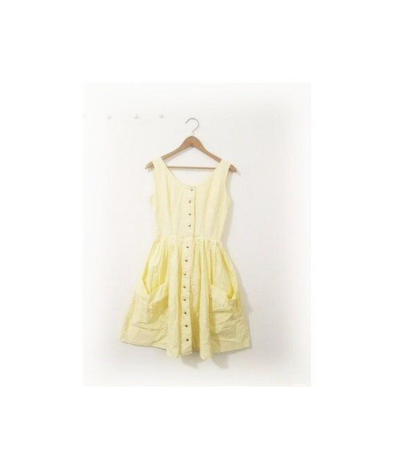 1950s-1960s LOVELY yellow fringe classic dress
