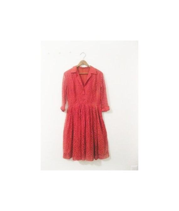 1940s-1950s LACE red lovely day dress