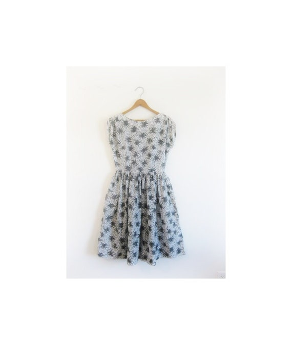 1940s-1950s FOLIAGE cotton spring dress