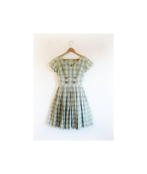 1940s-1950s PLAID classic preppy dress