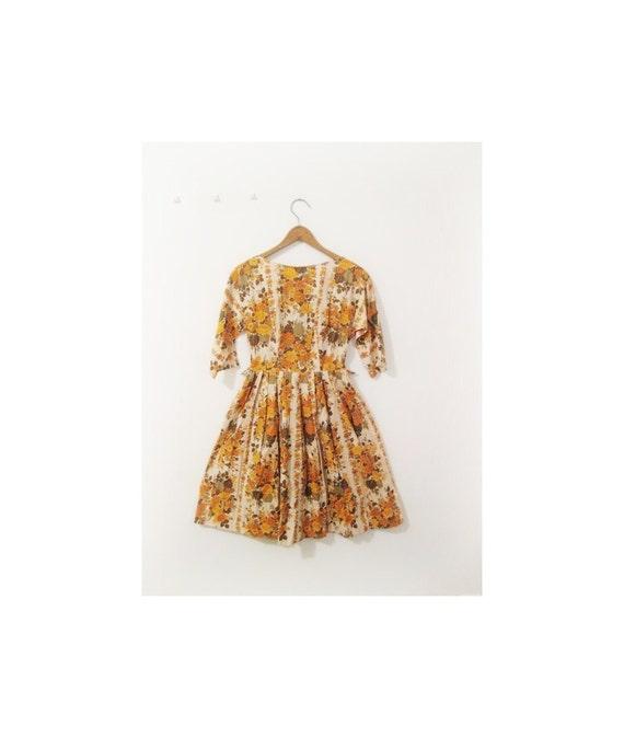 1940s-1950s GARDEN floral cotton dress