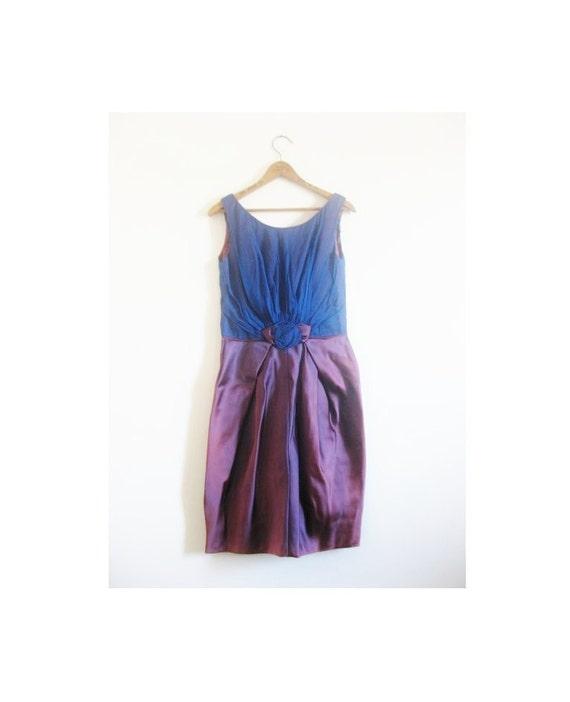 1940s-1950s ROSE chiffon wiggle dress