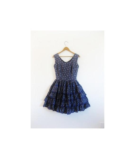 1940s-1950s PRETTY floral cotton dress