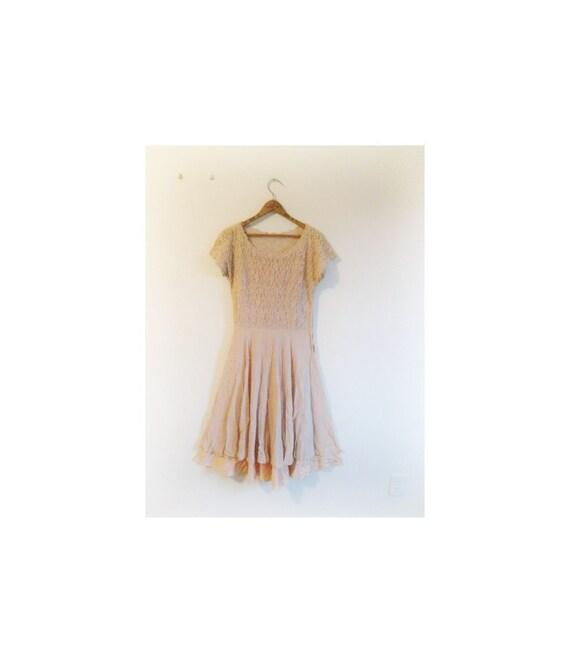 1930s-1940s LACE dusty rose simplistic dress