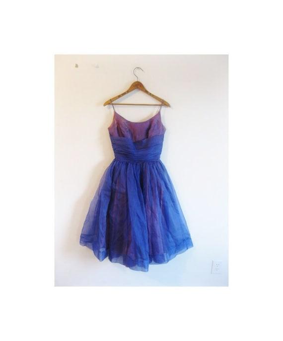 1940s-1950s ROYAL BLUE organza party dress