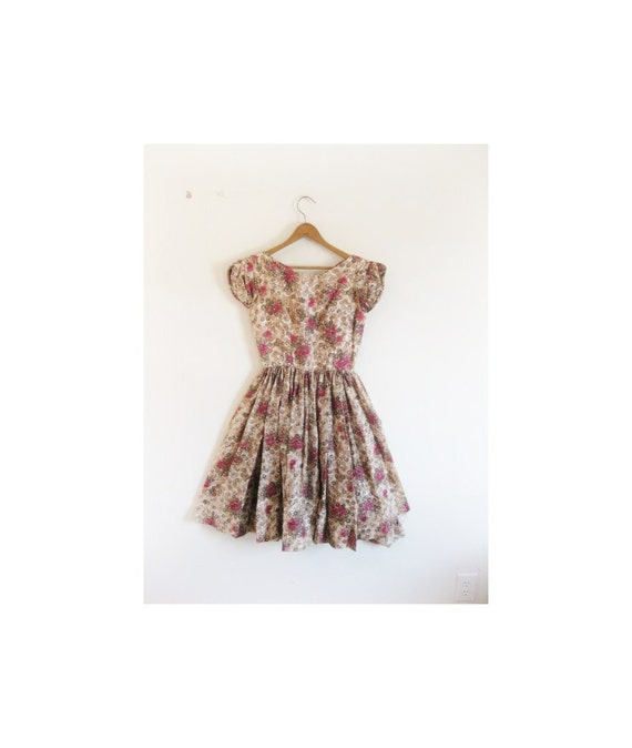 1940s-1950s GORGEOUS floral party dress