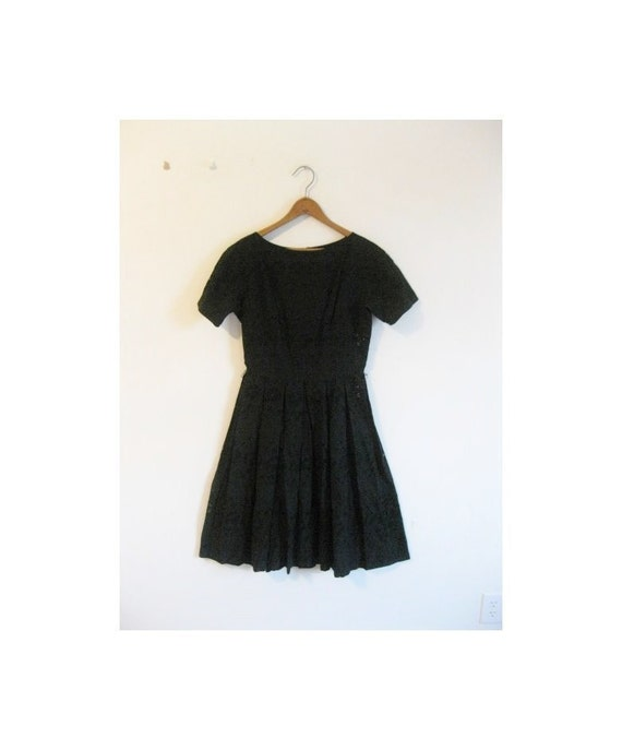 1950s EYELET timeless black floral dress